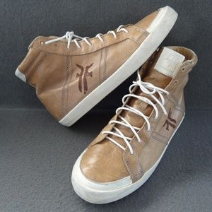 Frye 8.5 M Dylan High-Top Sneakers Taupe Lace-Up